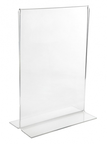 Acrylic Ticket Holders - Acrylic Freestanding Poster/Ticket Display Holder - Landscape (Double Sided) - Bottom Opening