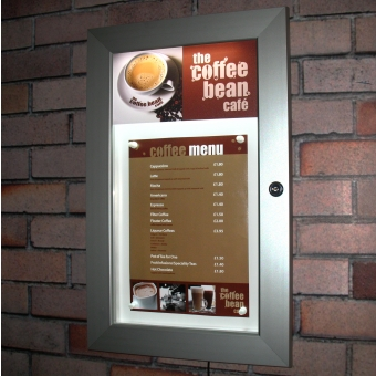 Illuminated Menu Display Cases - 1xA4 Lockable Illuminated Menu Display Case